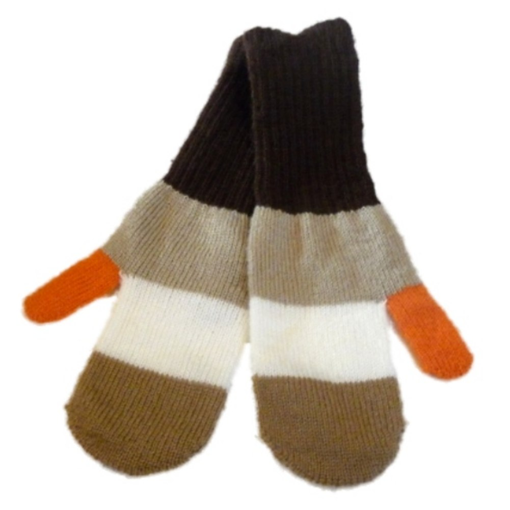 JCP Womens Brown & Tan Stripe Soft Knit Mittens