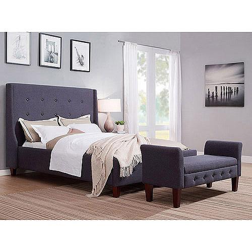 upholstered wingback tweed queen bed, grey - walmart