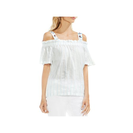Vince Camuto Womens Cold Shoulder Embroidered Peasant Top Voile Peasant Top