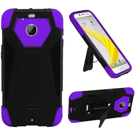 HTC 10 EVO / Bolt Case, by HR Wireless Dual Layer Hybrid Stand Hard Plastic/Soft Silicone Case Cover For HTC 10 EVO / Bolt, Black/Purple (Spinning Hr Wireless Computer)