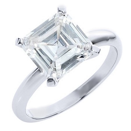 14k White Gold 1 Carat Solitaire Asscher Cut Diamond Engagement Ring