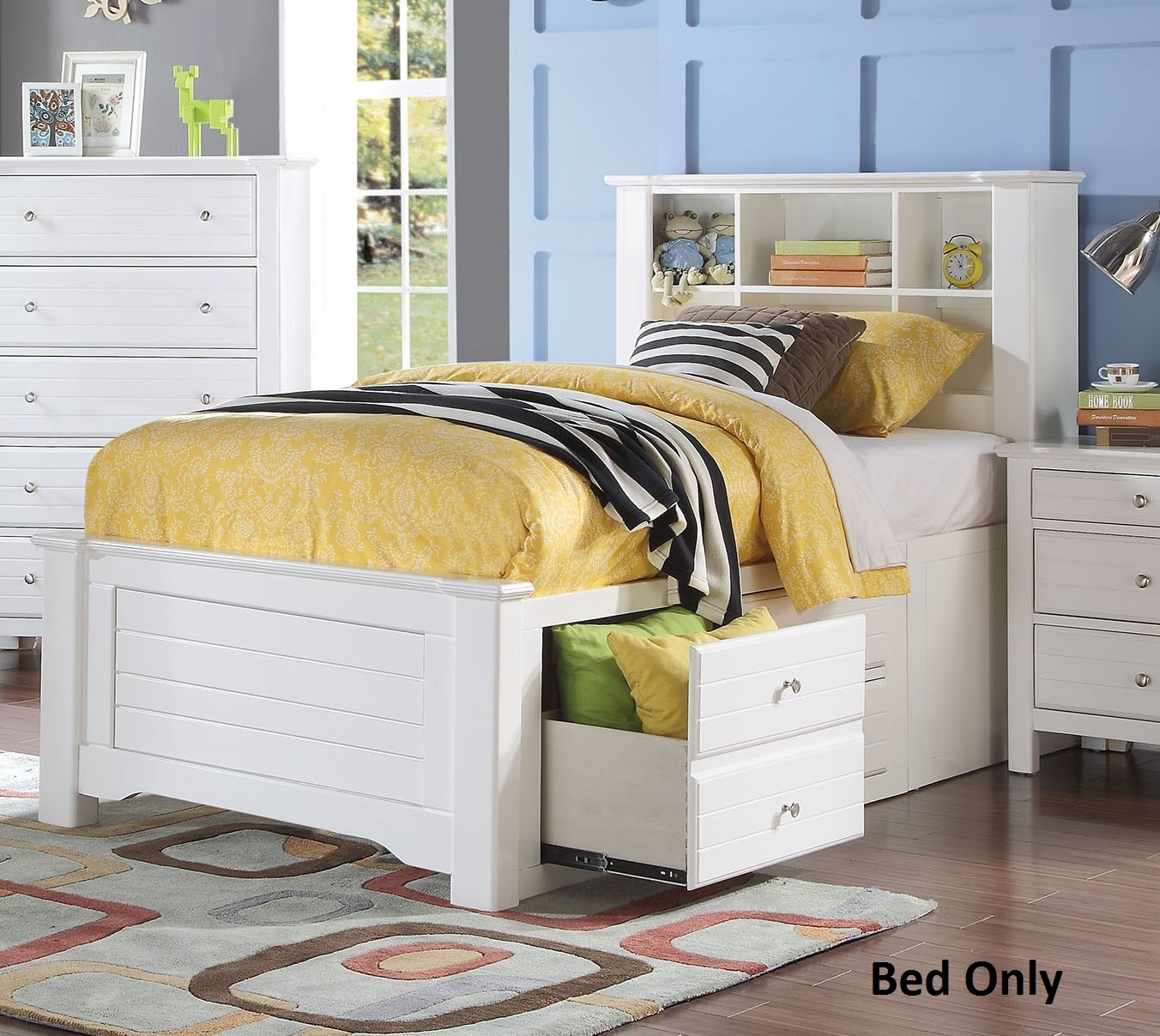 Mallowsea 30420T Twin Size Bed with Storage Rail Drawers 6 Compartment Bookcase Headboard Low Profile Footboard and Pine... by Overstock