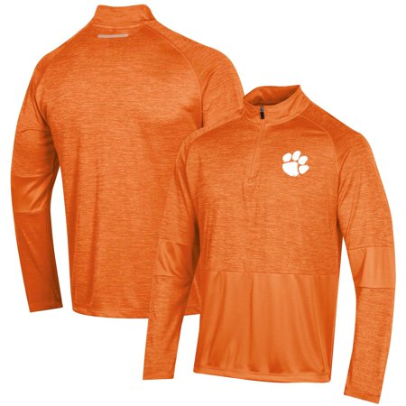 Men's Russell Athletic Heathered Orange Clemson Tigers Athletic Fit Quarter-Zip Pullover Jacket Project Athletic Fit Jacket