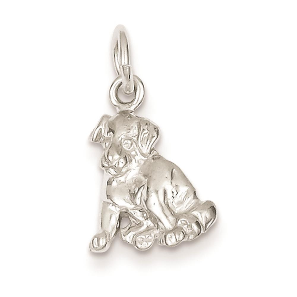 925 Sterling Silver Dog 3-D Polished & Solid Charm Pendant