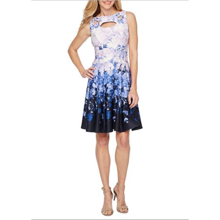 Gabby Skye Womens Cut out Printed Floral Fit and Flare Dress](Cut Out Floral Dress)