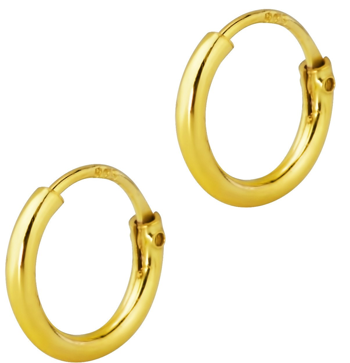 14k Gold Plated Sterling Silver Tiny 8mm Hoop Earrings for Babies and Girls Ages 5 & Under