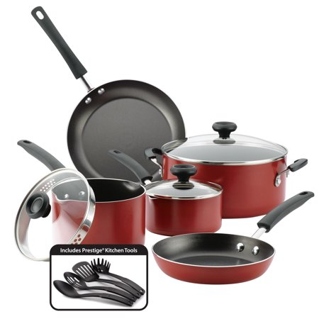 Farberware 12-Piece Easy Clean Nonstick Pots and Pans Set/Cookware Set, Red Teflon Pots And Pans