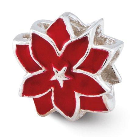 Enamel Sterling Silver Flower Beads - Lex & Lu Sterling Silver Reflections Red Enameled Flower Bead