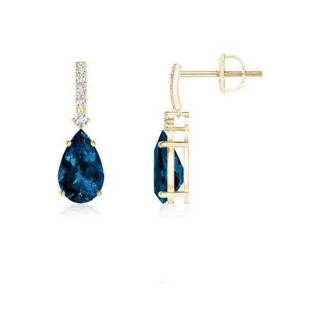 86d49fc20c7b Angara - Women s Day Sale - Pear-Shaped London Blue Topaz Earrings with  Diamond Accents in 14K Yellow Gold (8x5mm London Blue Topaz) ...