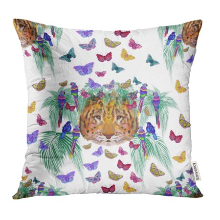 YWOTA Colorful Animal Raster Pattern with Palm Leaves Tiger Head Birds and Butterflies Pillow Cases Cushion Cover 20x20 inch