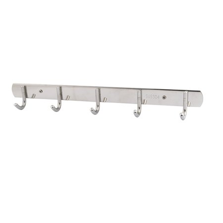 Uxcell Hotel Home Stainless Steel Wall Mounted 5 Hooks Hat Clothes Rack Silver Tone