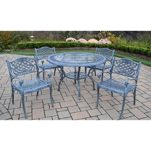 Oakland Living Corporation Dakota Cast Aluminum 5-piece Patio Dining Set, with 48-inch Round Table, and 4 Arm Chairs