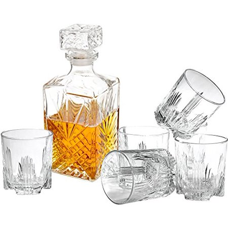 7pc Decanter & Whisky Glasses by Paksh/Bormioli Rocco Elegant Whiskey Decanter with Stopper and 6 Cocktail Glasses Gift Set