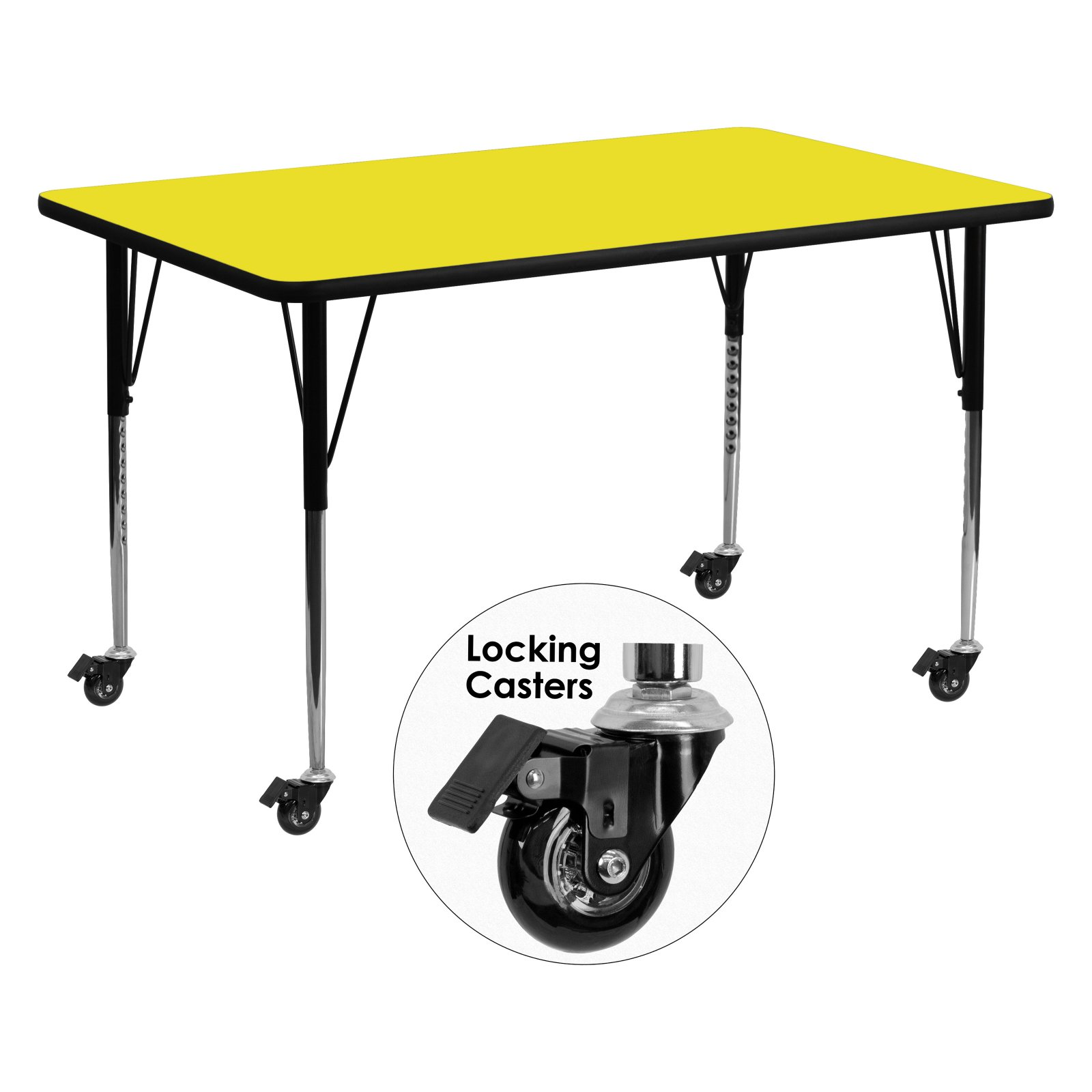 Flash Furniture Mobile 30''W x 72''L Rectangular Activity Table with 1.25'' Thick High Pressure Yellow Laminate Top and Standard Height Adjustable Legs