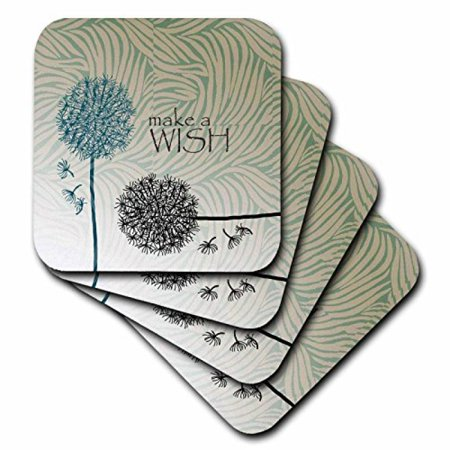 3dRose Inspired Teal Make A Wish Dandelion Flowers, Ceramic Tile Coasters, set of 4 (Teal Coasters)