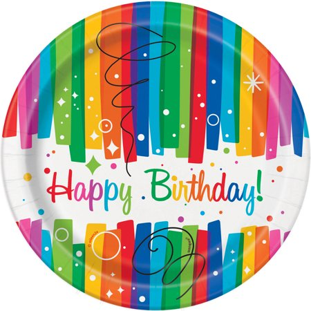 Rainbow Birthday Paper Dessert Plates, 7in, 8ct