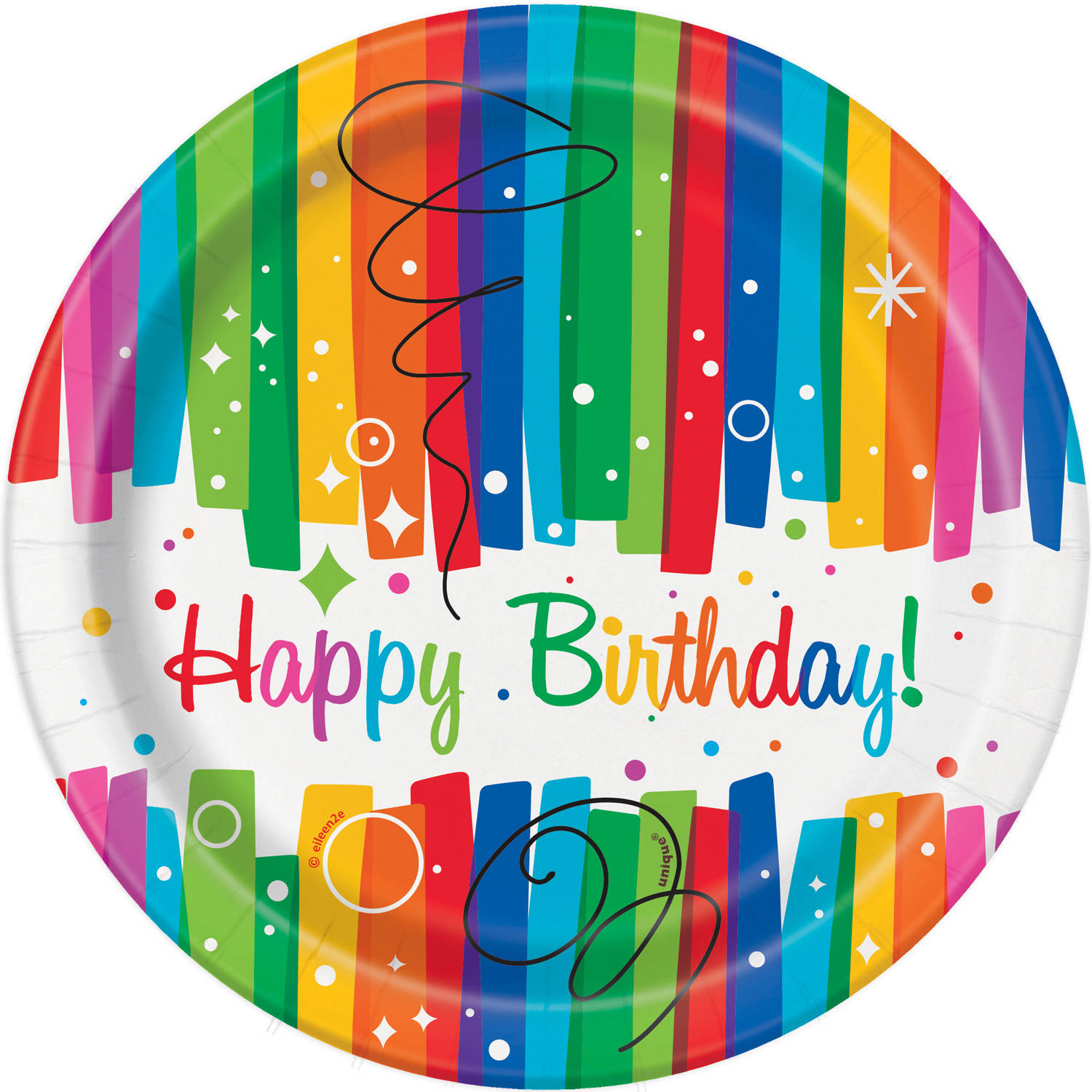 "7"" Rainbow Birthday Paper Dessert Plates, 8ct"