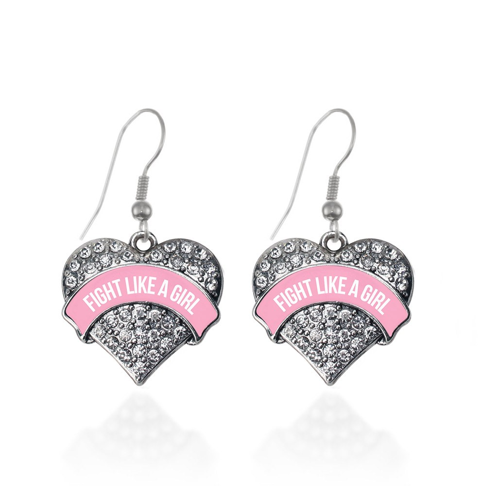 Fight Like a Girl Pink Breast Cancer Support Pave Heart Earrings