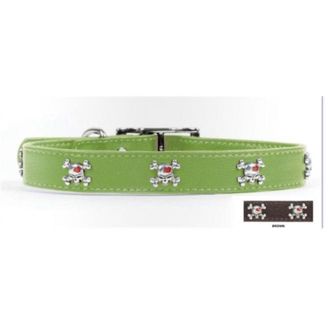 Rockinft Doggie Leather Collar with Skull Rivets