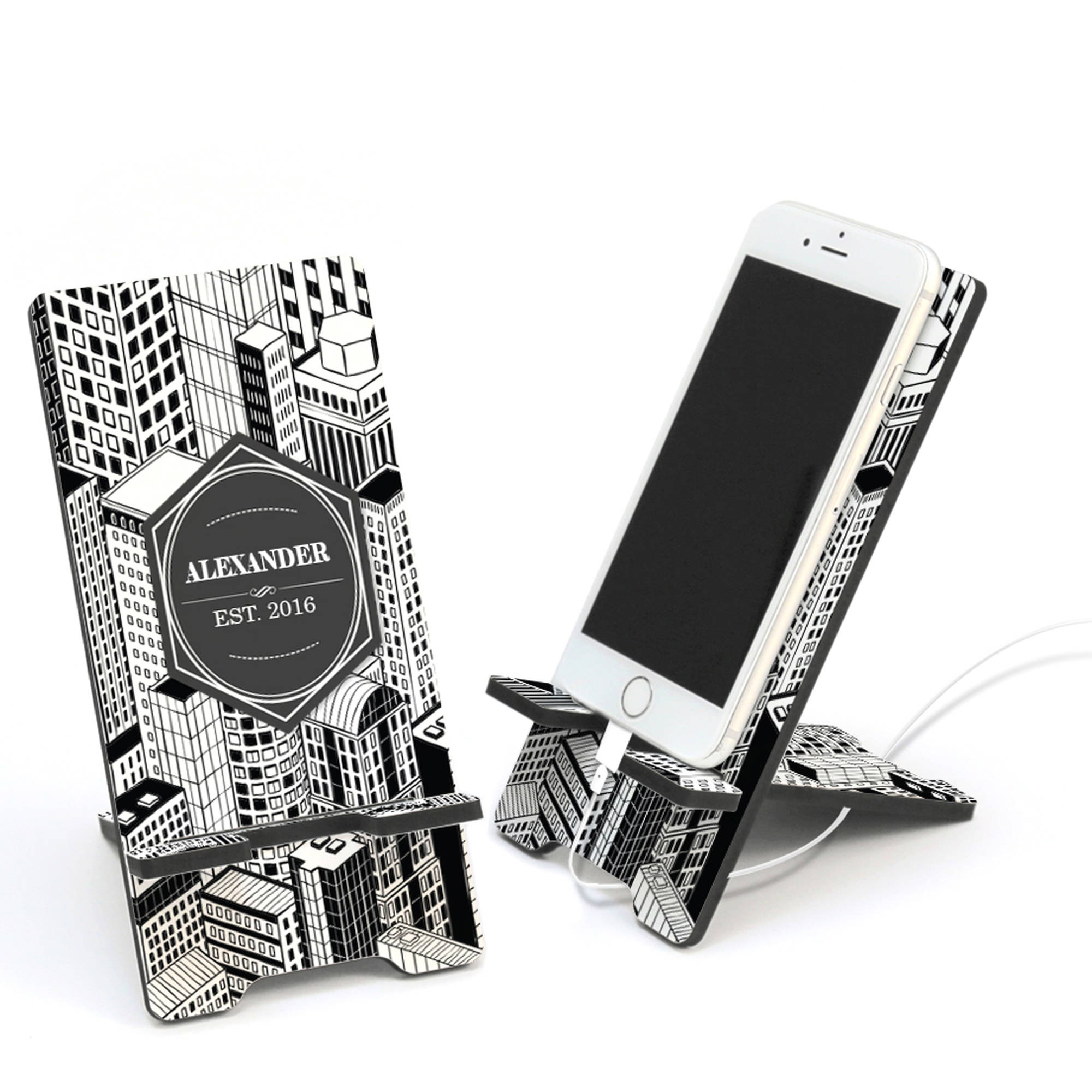 Custom City Scape Design Cell Phone Stand