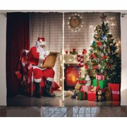 Santa Curtains 2 Panels Set, Old Santa Claus Sitting at Home at Christmas Night Reading a Letter Near the Tree, Window Drapes for Living Room Bedroom, 108W X 84L Inches, Multicolor, by Ambesonne