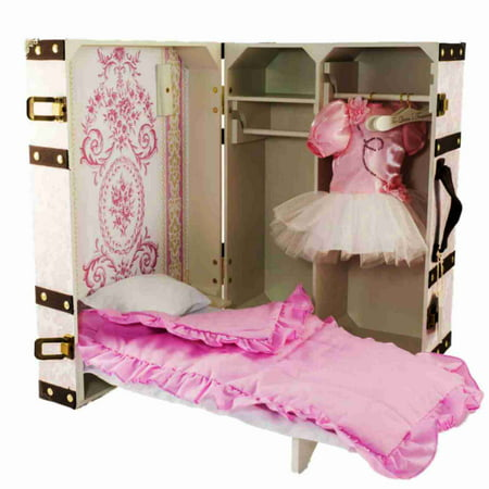 Pleasing 18 Doll Clothes Storage Trunk Suitcase Doll Bed Bedding Hangers Fits 18 Doll Furniture Pk Home Interior And Landscaping Ologienasavecom