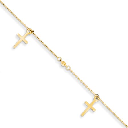 14k Yellow Gold Textured Cross Religious 1 Inch Adjustable Chain Plus Size Extender Anklet Ankle Beach Bracelet For Women
