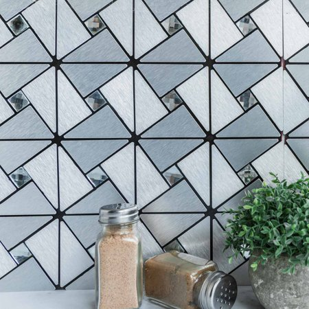 Efavormart 10 Pack Self-adhesive Metal Backsplash Peel & Stick Abstract Design Wall Tile With Rhinestones - 12