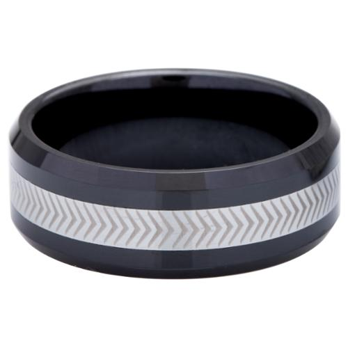 Men's Tungsten Ceramic Laser -Etched Band (8 mm) 13