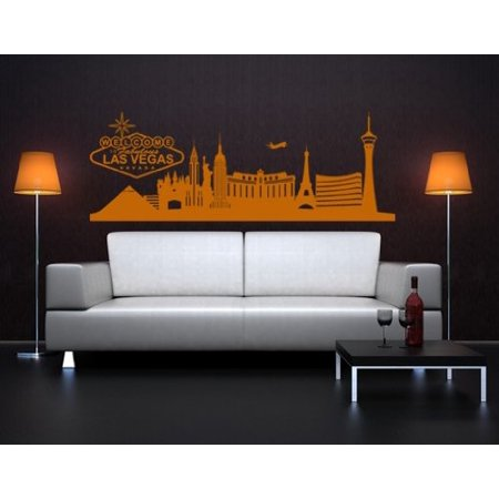 Las Vegas City Skyline Wall Decal - Wall Sticker, Vinyl Wall Art, Home Decor, Wall Mural - 1331 - 31in x 11in, - Gold Spike Las Vegas Halloween