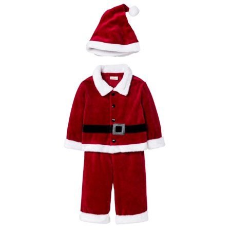 Cat & Jack Infant Boys Red Velour Santa Holiday Shirt Pants Hat Set Outfit