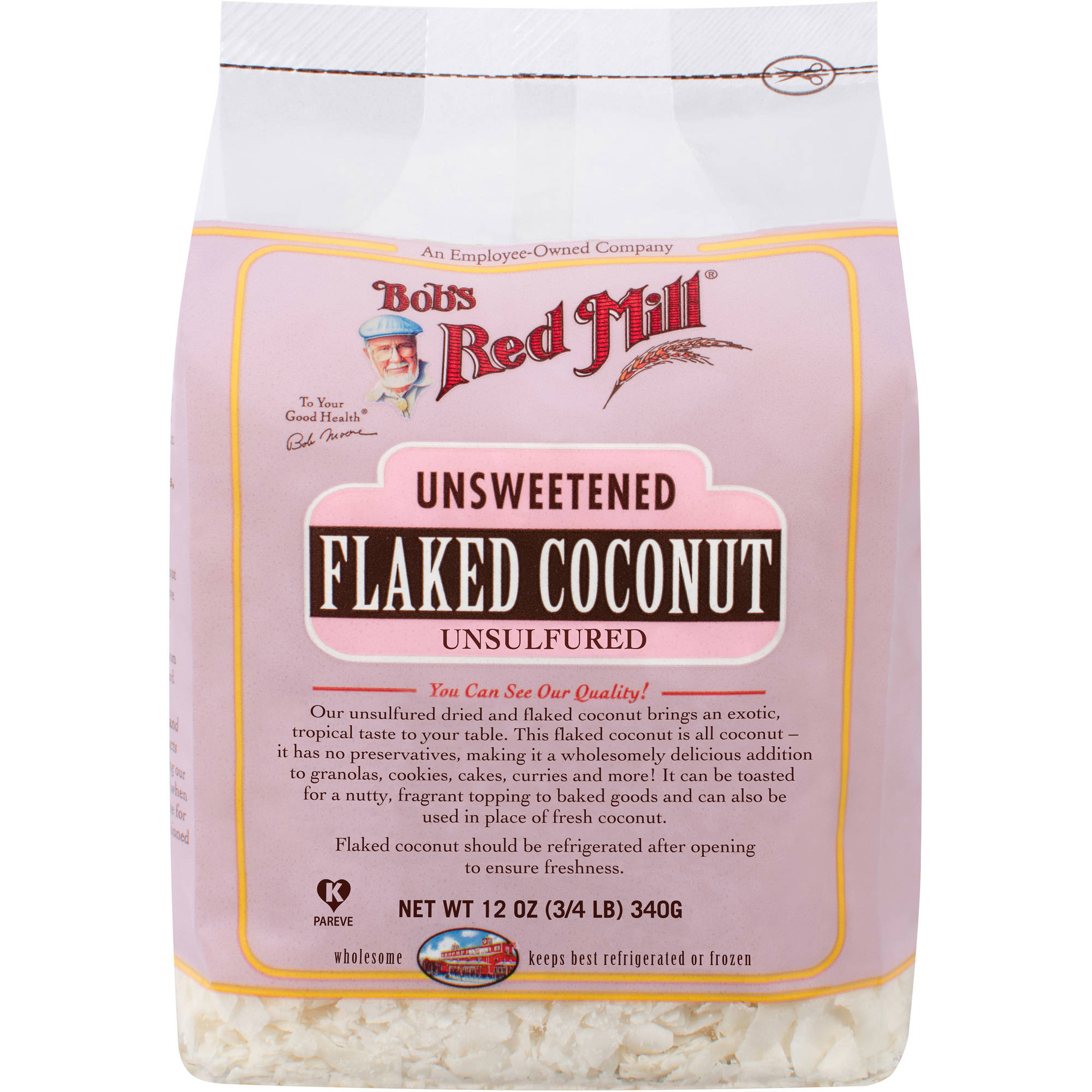 Bob's Red Mill Flaked Unsweetened Coconut, 12 oz (Pack of 4)