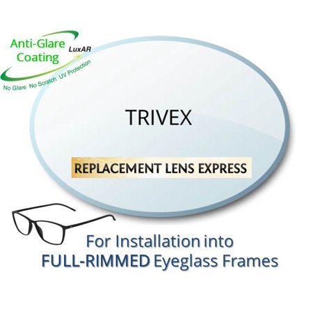 Single Vision Trivex Prescription Eyeglass Lenses, Left and Right (One Pair), for installation into your own Full-Rimmed Frames, Anti-Scratch Coating and Anti-Glare Coating (Eyeglass Frame Replacement Parts)