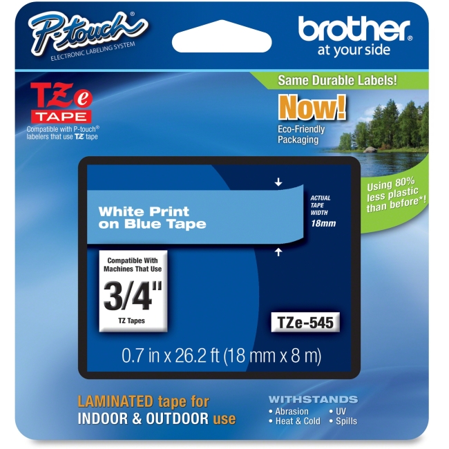 """Brother TZe-545 Label Tape - 0.70"""" Width x 26.20 ft Length - Direct Thermal, Thermal Transfer - Blue - 1 Each"""