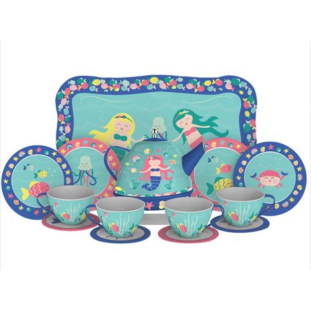 Schylling Mermaid Tin Tea Set - Kids Tea Party Set