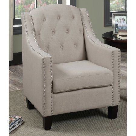 Marvelous Poundex F1526 Bobkona Taden Nail Head Trimmed Accent Chair Beige Caraccident5 Cool Chair Designs And Ideas Caraccident5Info