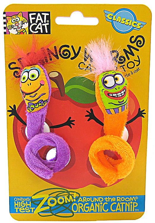 Fat Cat Springy Worms Catnip Cat Toy, 2 Count by Fat Cat