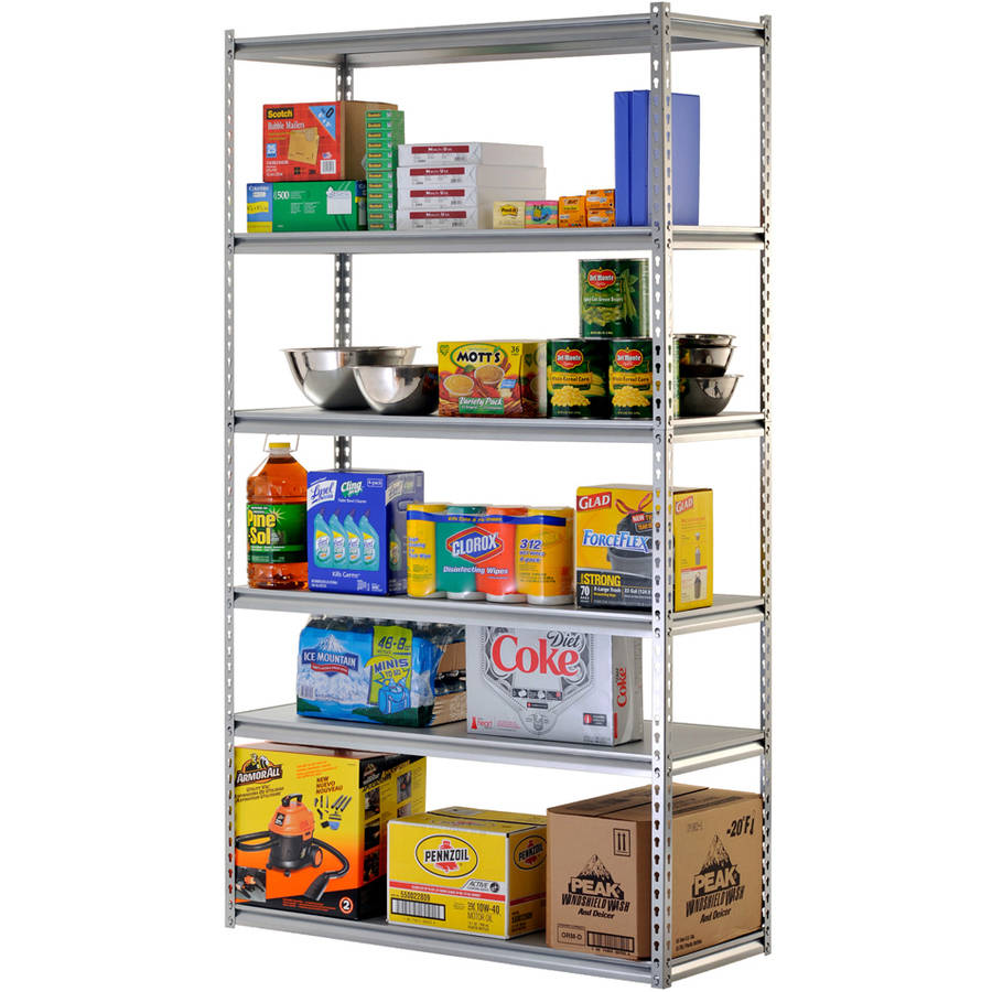 "Edsal 48""W x 18""D x 86""H Six-Shelf Heavy-Duty Steel Shelving Unit, Silver"