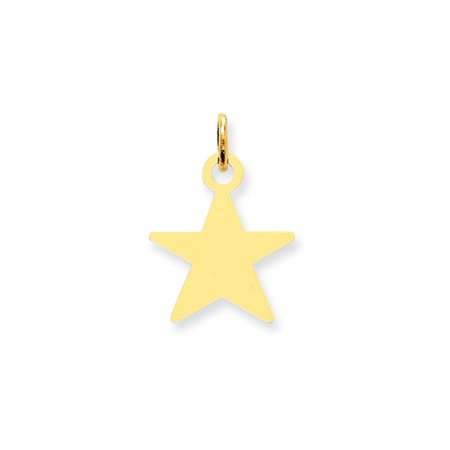 14k Yellow Gold Star Disc Pendant Charm Necklace Engravable Shaped