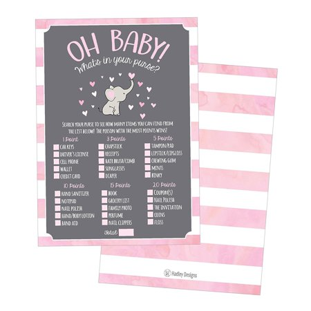 25 Pink Elephant What's In Your Purse Baby Shower Game, Funny Idea Coed Couples Game For Baby Party, Fun Woodland Themed Bundle Pack of Cards To Play at Boy or Girl Gender Decoration and (Decoration Ideas For A Ballerina Themed Baby Shower)