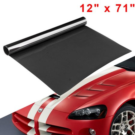 "NEW 12"" x 71"" Dark Black Smoke Headlight Tail Fog DRL Light Tint Vinyl Wrap"