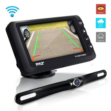 PYLE PLCM4378WIR - Wireless Rear View Backup Camera & Monitor Kit - Vehicle Parking/Reverse System with 4.3'' Display Screen (Camera Monitor Kit)