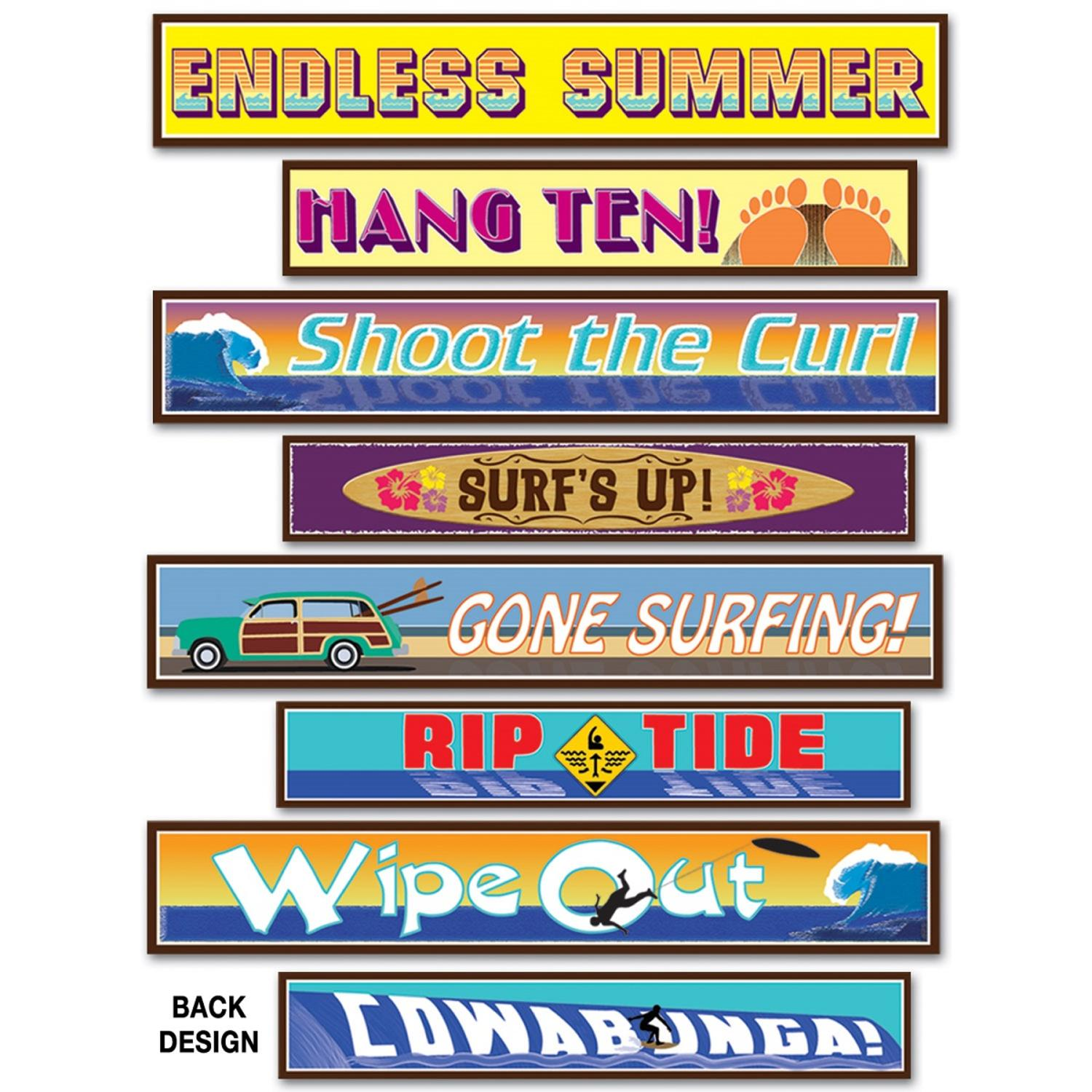 Club Pack of 48 Multi-Colored Tropical Luau Themed Surfer Street Sign Cutout Decoration 24""