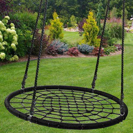 "Zeny 48"" Round DURABLE Tree Web Swing Net Platform PE Rope Kids Play Set Patio Yard"
