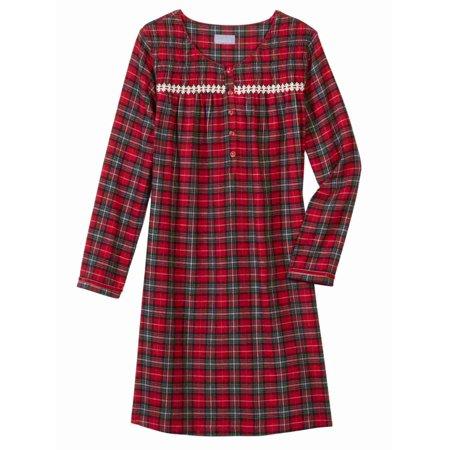 6256986c8a Laura Scott - Womens Red   Black Plaid Flannel Nightgown Night Gown Sleep  Shirt - Walmart.com