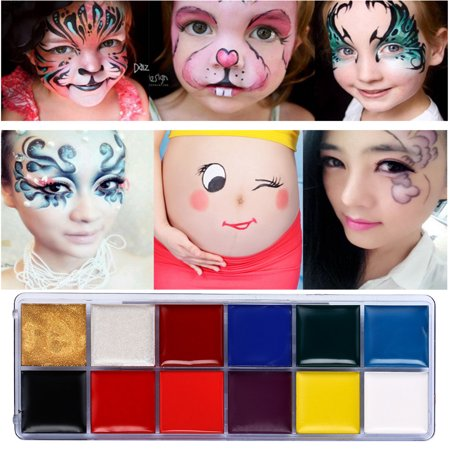 Cool Halloween Painted Faces (12 Colors Body Painted Colors Opera Clown Halloween Forms Face)