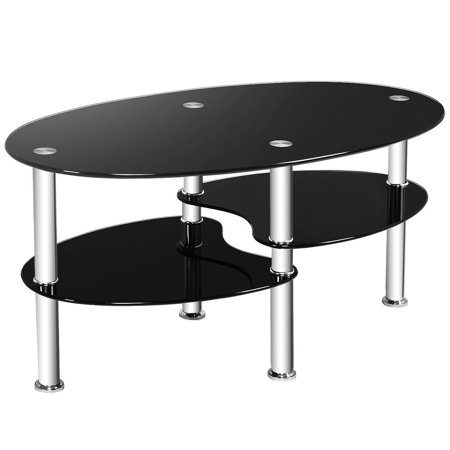 Costway Tempered Glass Oval Side Coffee Table Shelf Chrome Base Living Room Black
