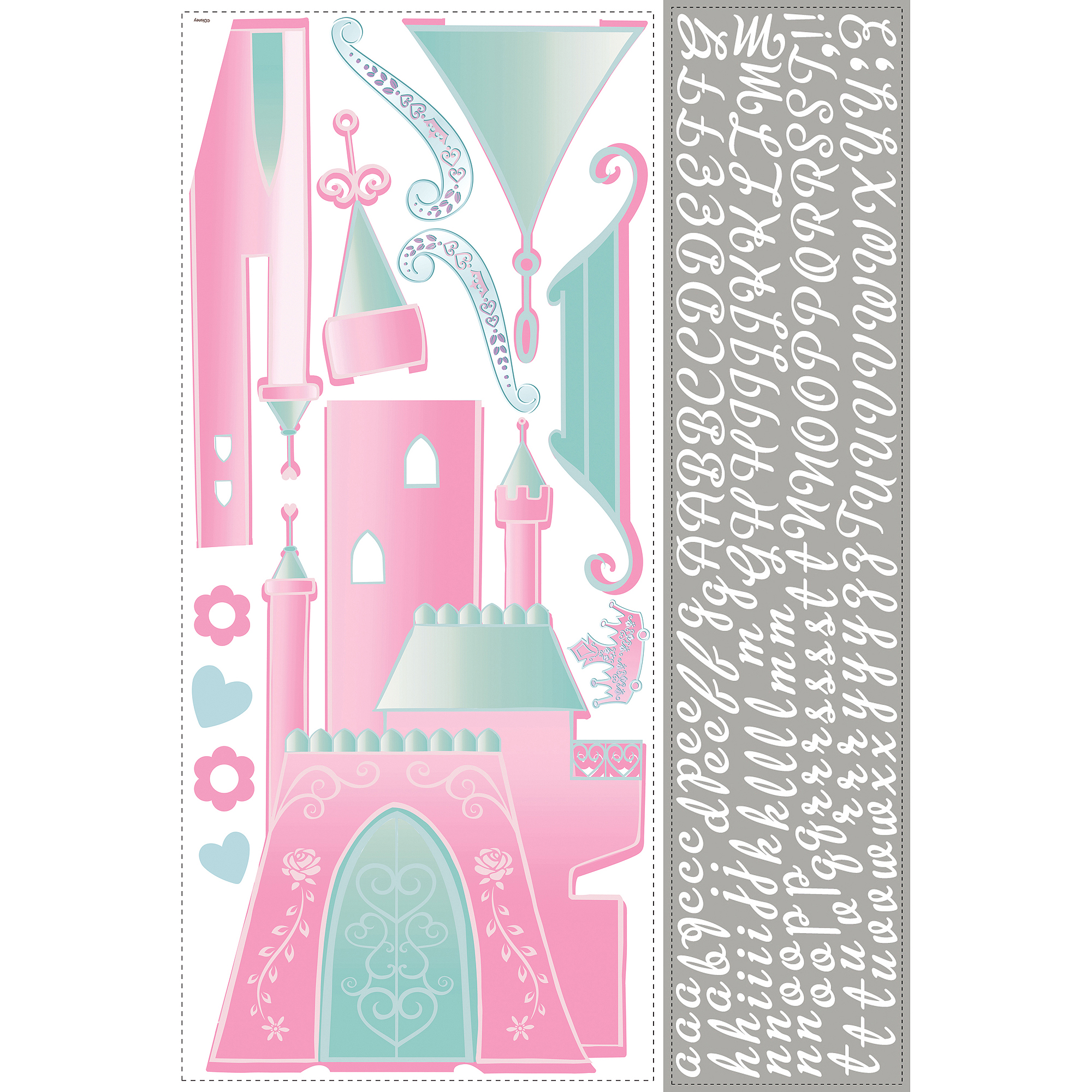 RoomMates Disney Princess Castle Peel-and-Stick Giant Wall Decal with Personalization