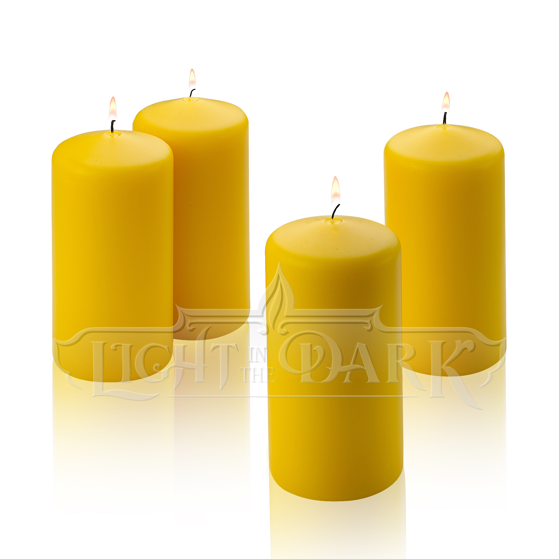 "Yellow Citronella Scented Pillar Candles 6"" Tall X 3"" Wide Set Of 4"