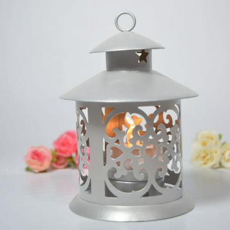 Fantado 5'' Round Tealight Hurricane Candle Lantern - Silver by -